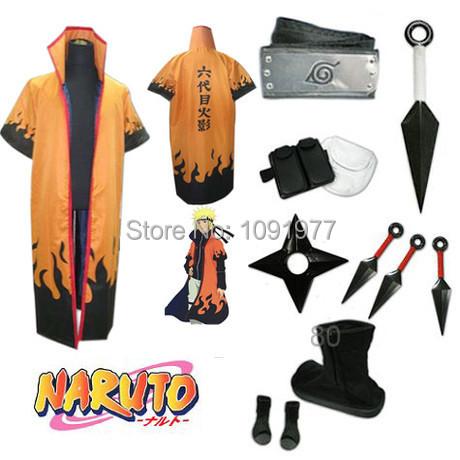 Anime Uzumaki Naruto Cosplay Costume The sixth Hokage rokudaime Hokage Whole Set(China (Mainland))