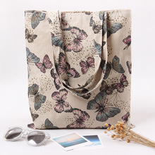 Cotton Linen Eco Reusable Shopping Shoulder Bag Tote Butterfly L230 NEW(China (Mainland))