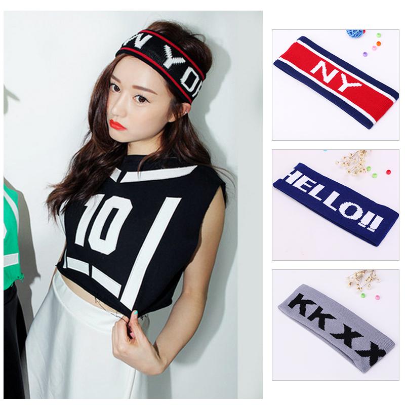 2016Hot sale Beauty Fashion19 Colors Letter headband Knitted Head Hairband Sports headbandWash hair band(China (Mainland))