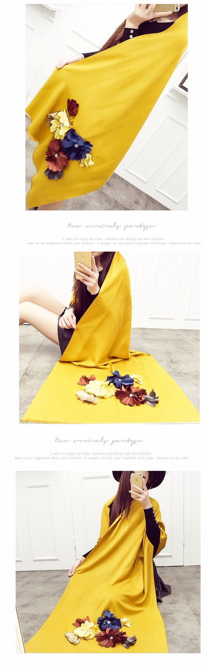 Fashion brand warm winter scarf women designer cashmere scarf poncho Flower adornment Pure color wool Shawl and scarves Pashmina