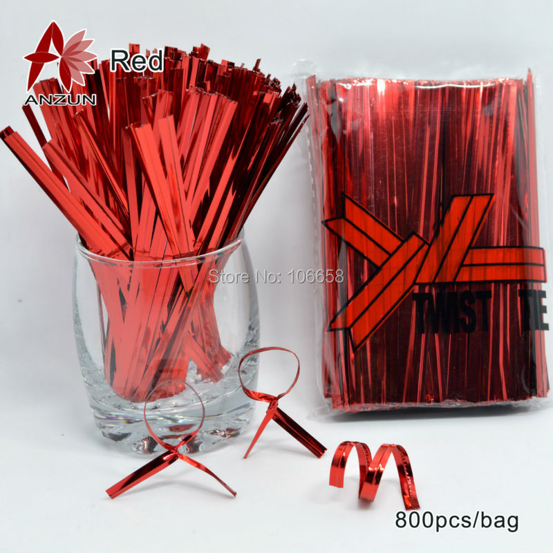 800pcs Red Metallic Wire Twist Ties For Cello Candy Bag Baking packaging ligation lollipop dessert sealing twist ties(China (Mainland))