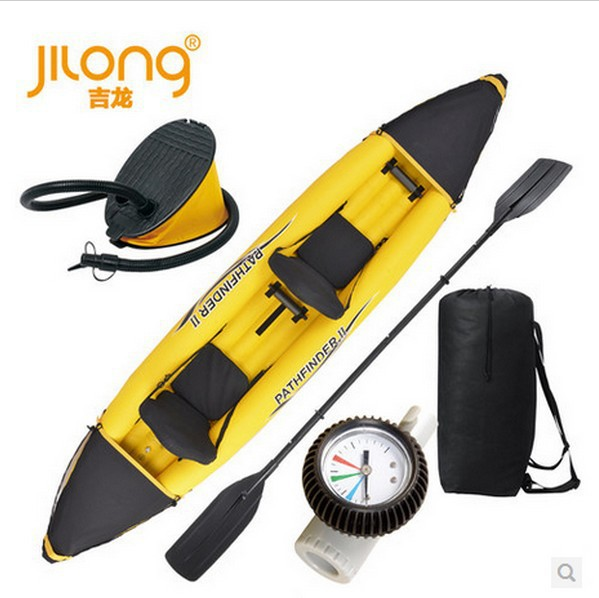 Jilong 2 person pathfinder canoe inflatable boat sport kayak,size 376*77*34cm,complete parts foot pump,oars(China (Mainland))