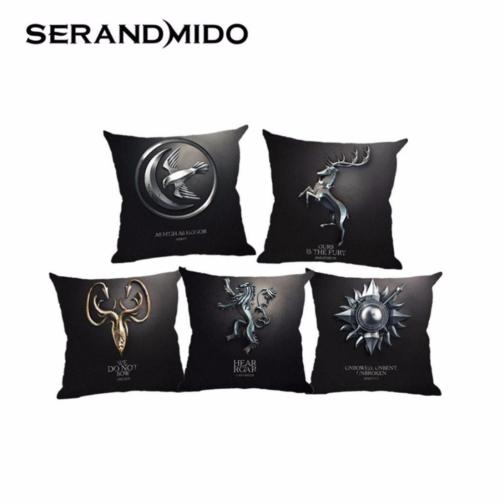 clan insignia print cotton linen cushion covers 45 45cm pillow cases for car seat sofa chair. Black Bedroom Furniture Sets. Home Design Ideas