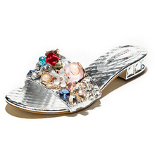 SUMMER STYLE Sexy Open toe square heels Slides 2015 Brand High Heels Sandals Flip-flops Luxury diamond low heels beach slippers(China (Mainland))
