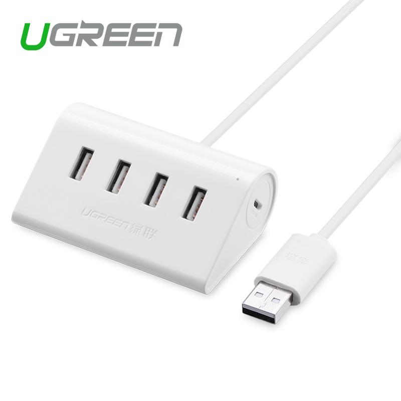 Ugreen 4 Port USB 2.0 HUB 80cm high speed USB HUB splitter cable with micro usb power port in white USB HUB(China (Mainland))