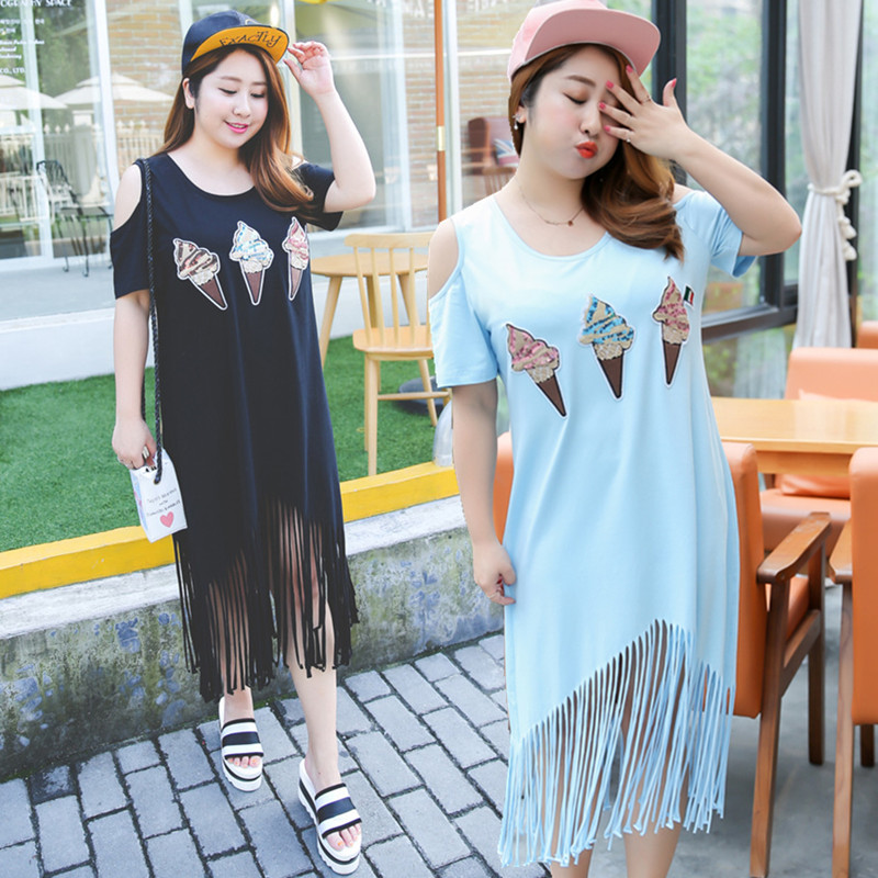 T Shirt Dresses 2016 O-Neck Off The Shoulder Short Sleeve Ice Cream Print Straight Casual Dress XL-4XL Plus Size Black/ Sky Blue(China (Mainland))