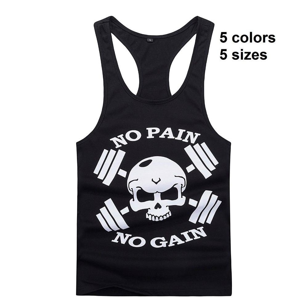 Nova Fisiculturismo Golds Gym Stringer Singlet Crânio NO PAIN no GAIN Fitness Workout Muscle Men Apertado Tanque Vest(China (Mainland))
