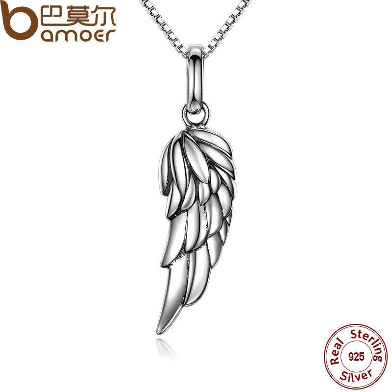 BAMOER New Authentic 925 Sterling Silver Feather Wing Pendant Necklace High Quality Necklace Fine Jewelry SCN026(China (Mainland))