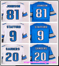 Men's 9 Matthew Stafford 20 Barry Sanders 81 Calvin Johnson elite jerseys,White and Blue(China (Mainland))
