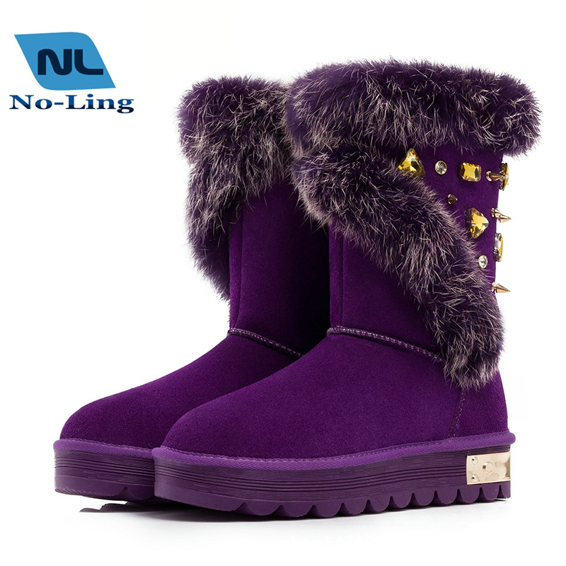 Fox Fur Ankle Rhinestone Waterproof Snow Boots Women 2015 Fashion Brand Warm Genuine Leather Australia Tall Snow Boots Shoes <br><br>Aliexpress