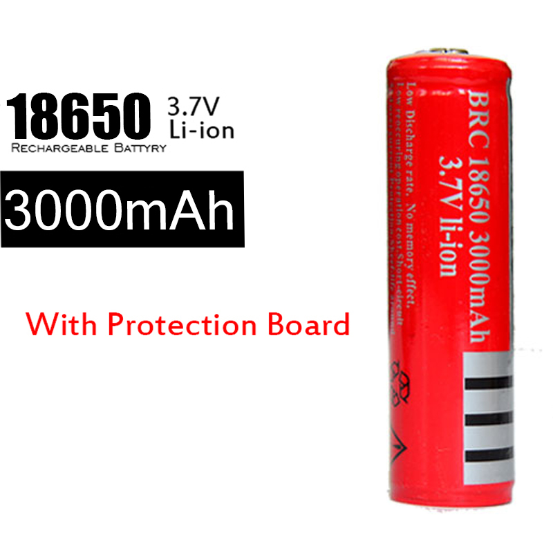 High-Quality 10Pcs/lot BRC 18650 3000mah 3.7v Li-ion Protected Battery Rechargeable Batteries 18650 W PCB(China (Mainland))