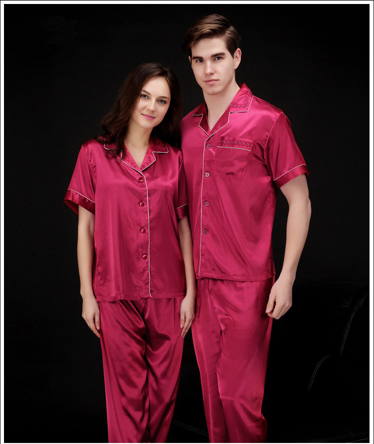 2015 new men and women faux silk solid color pajamas sets, high quality Luxury short sleeve lovers couples sleepwear(China (Mainland))