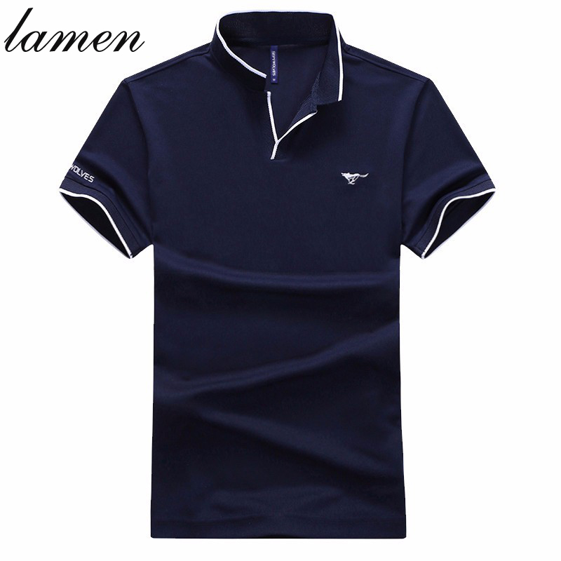 Lamen Brand clothing Men's Polo Shirt Splice Polos Men Cotton Short Sleeve Shirt Sports Jerseys Golf Tennis Plus Size 4XL(China (Mainland))