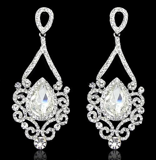 Womens Water Drop Shape Symmetry Crystal Rhinestone Studs Earrings For Women Wedding Jewelry Bijoux 2015(China (Mainland))