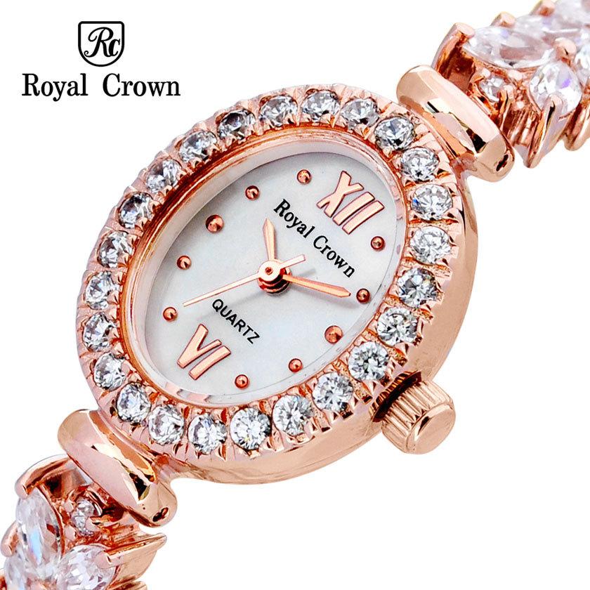 Royal crown Lady Wrist Watch Quartz Hours Best Fashion Dress 18K Gold Plated Bracelet Band Shell Luxury Rhinestone Bling CZ 1516(China (Mainland))