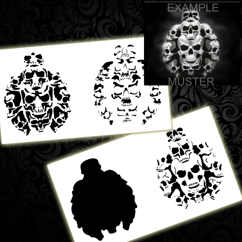Step by Step Airbrush Stencil BPS-001 Skull Pile Airbrushes Painting Stencil