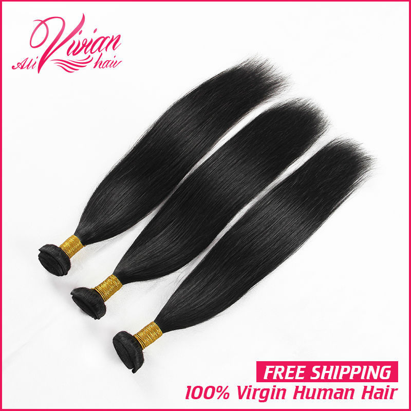7a Unprocessed Hair Malaysian Human Hair Extension Virgin Straight Weave 3pcs/lot.color 1b#(China (Mainland))
