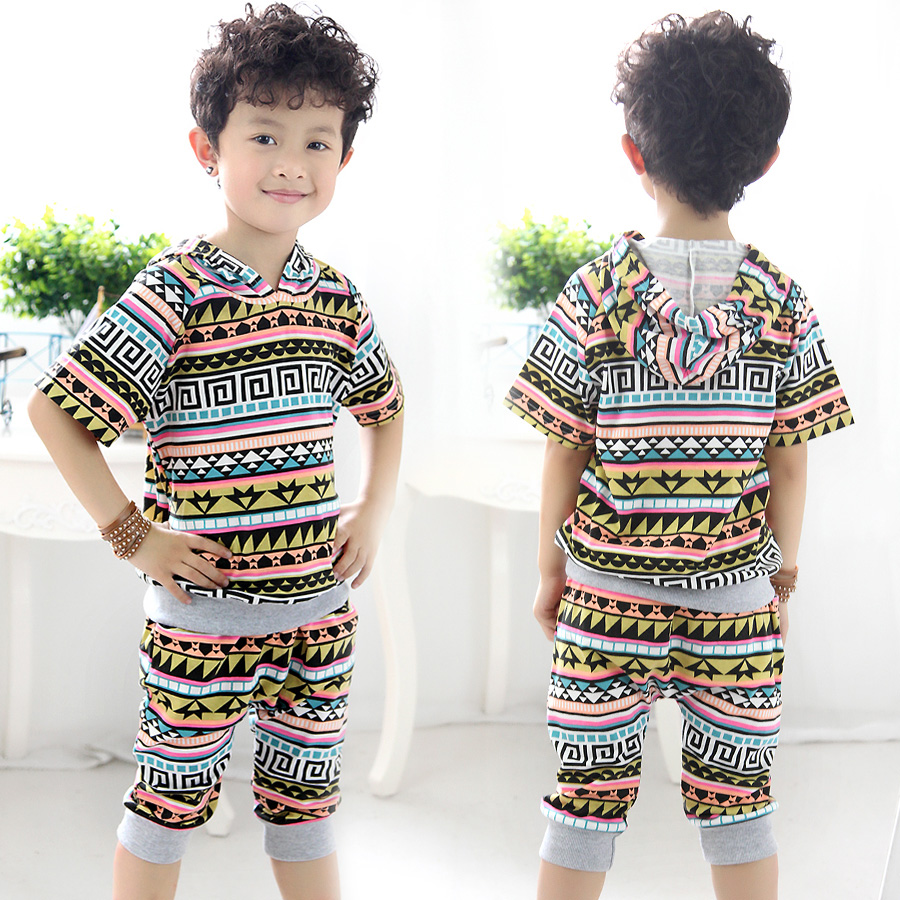 Cheap Mouse Rushed Free Shipping Summer 2015 Korean Kids Clothes New Short Sleeved Pants Pattern Baby Suit Tz-0753 Wholesale(China (Mainland))