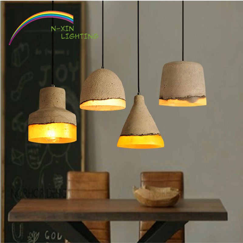 Фотография industrial lamp e27 220v for decor vintage lamp luminaire light lamparas colgantes lampe deco pendant light  Cement lamp
