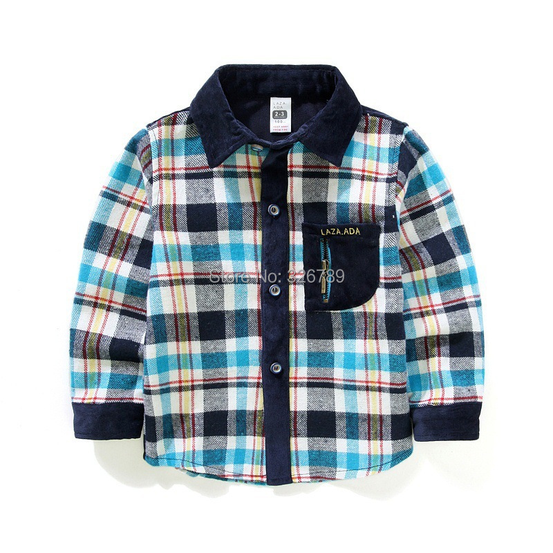 2015 spring boys plaid shirts boys check shirts kids casual long sleeve jersey for children cotton overshirt Christmas gift(China (Mainland))