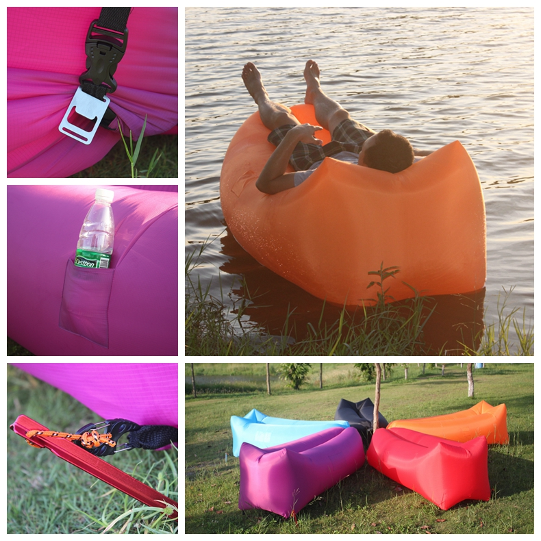 Inflatable Rectangle Square Design Laybag Hangout Kaisr Lay, Camping Hiking Beanbag Air Mattress Lounger Sofa Bed,Sleeping Bag/(China (Mainland))