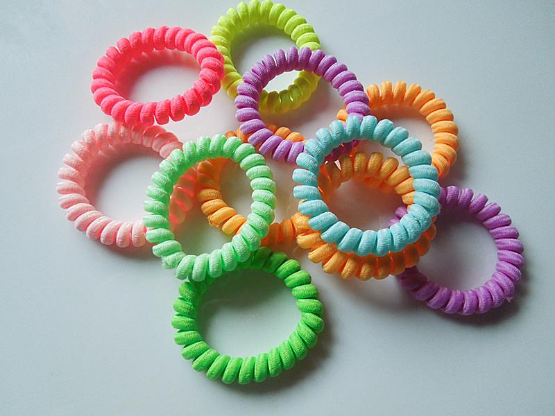 20pcs cloth wrapped phone cord elastic ribbon candy colored hair girl hair bundles