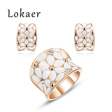 Lokaer fashion new arrival, genuine Austrian crystal,Delicate Gold plated Jewelry Set, Chrismas /Birthday gift L2070127650(China (Mainland))