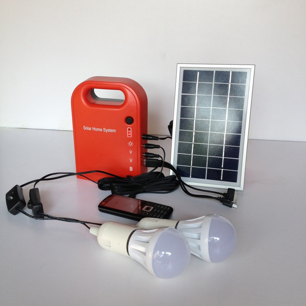 Portable Solar Power Home System Energy Kit Include USB Cable Solar Panel 2 Lamps For Lighting and Charging Everywhere(China (Mainland))