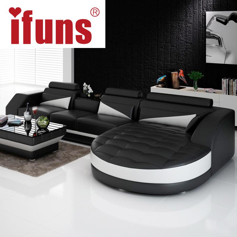 IFUNS black & white modern european furniture,luxury quality leather sofas,l shape sectional sofa set(China (Mainland))