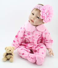 Lifelike Baby Dolls For Children 22 inch 55cm Smiling Realistic Soft Silicone Vinyl Reborn Dolls(China (Mainland))