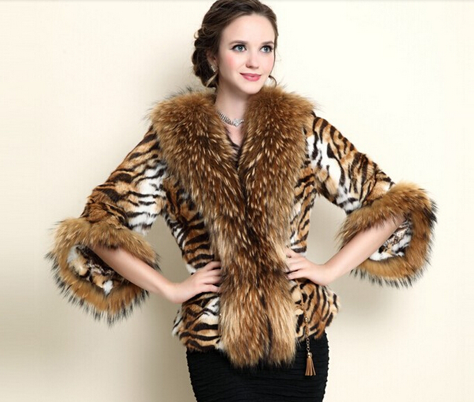 Luxury Winter Natural Furs Coats Lady Genuine Tiger Leopard Print Raccoon Fur Overcoat Real Women Cape Plus Size - store