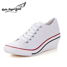 New Fashion Low Canvas Shoes Wedges High Heels Shoes Soild Color Lace-up Sneakers Spring And Autumn Women Shoes