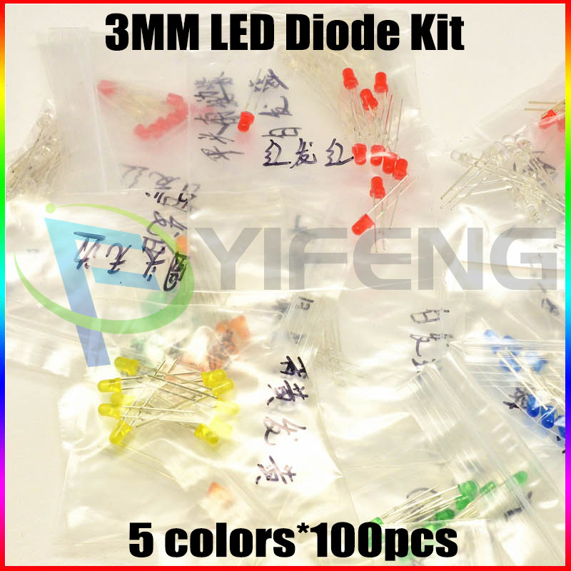 50 3MM LED Diode Kit Mixed Color Red Green Yellow Blue White - Shenzhen Yi Feng science Co.,Ltd store