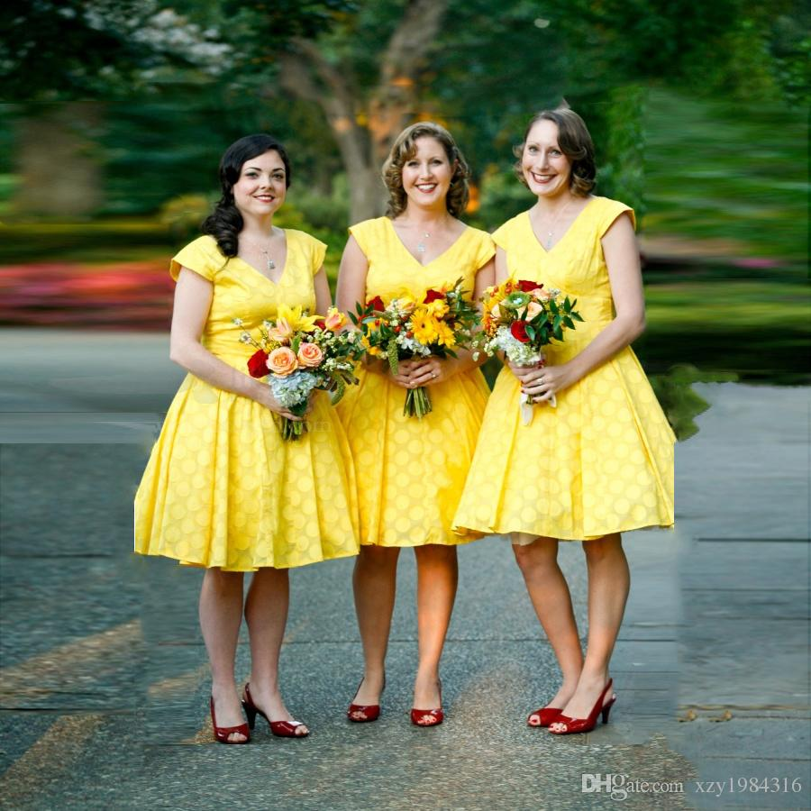 Popular knee yellow bridesmaid dresses with lace buy cheap knee 2016 yellow short chiffon lace bridesmaid dresses a line ruffle zipper back cheap wedding party gowns ombrellifo Images