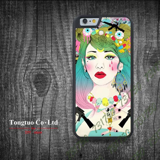 THE CURIOUS GIRL Rubber Side Mobile Phones Shell DIY Printting cartoon for iPhone 6 cell accessories phone cases Protective(China (Mainland))