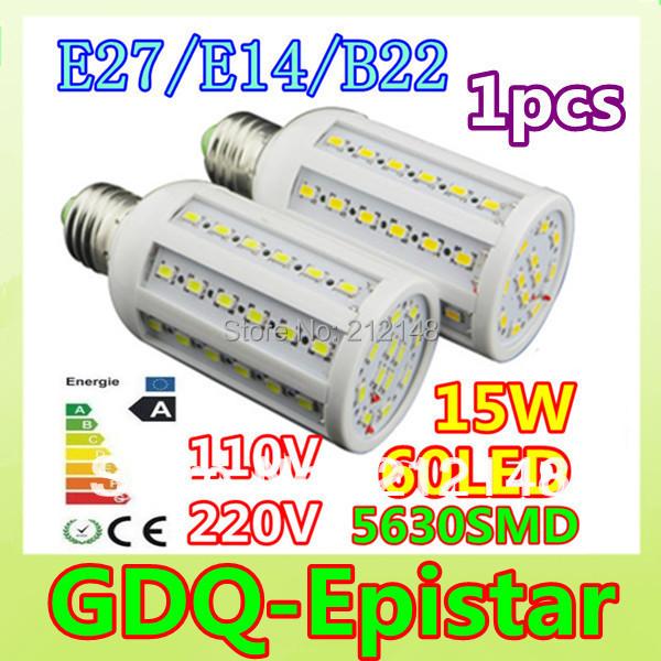 1x Dimmable 15W 60LED 5630 SMD E27 E14 B22 Corn Bulb Light Maize Lamp LED Light Bulb Lamp LED Lighting Warm/Cool White