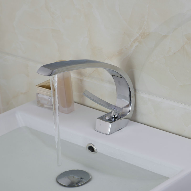Bathroom Sinks Faucet Chrome Deck Mounted Mixer Basin Tap Solid Brass ...