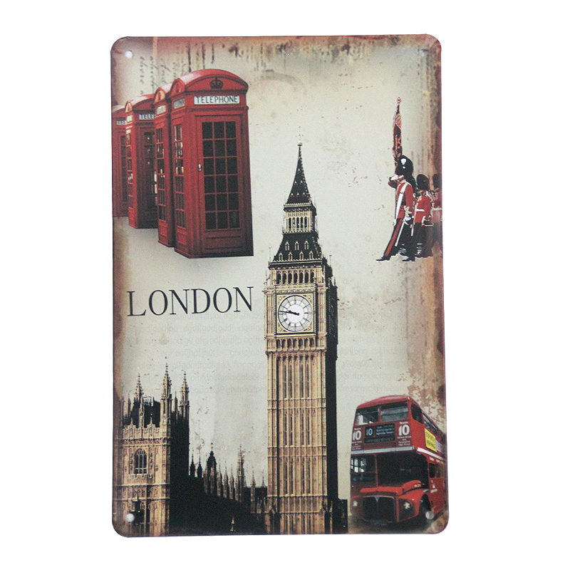 "Direct selling XD957 Vintage Tin signs ""London city"" tinplate metal painting for Cafe bar decoration wallpaper art 20x30 CM(China (Mainland))"