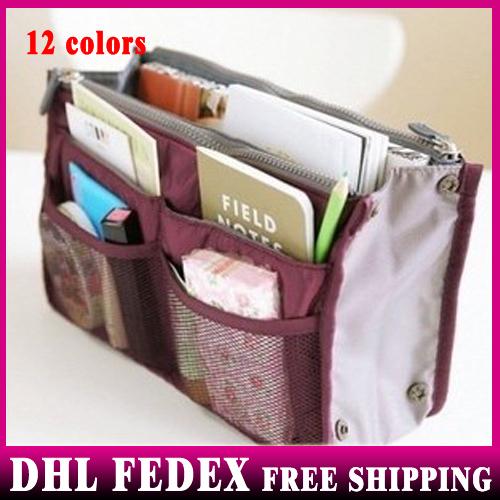 Free Shipping 100pcs/lot Women Multifunction Organizer/Travel Insert Handbag Organiser Storage Make Up Cosmetics Bag Travel Bag(China (Mainland))