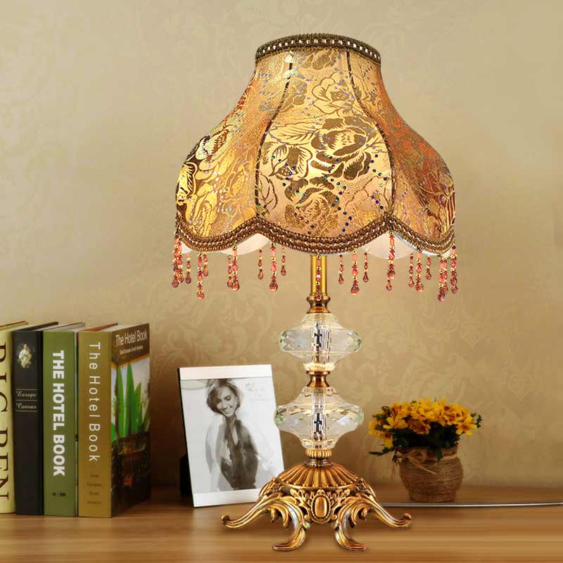 Vintage Crystal Table Lamp Shade Fabric Modern Office Living Room Bedroom Bedside Retro Table Lights Lighting Antique Brass Iron(China (Mainland))