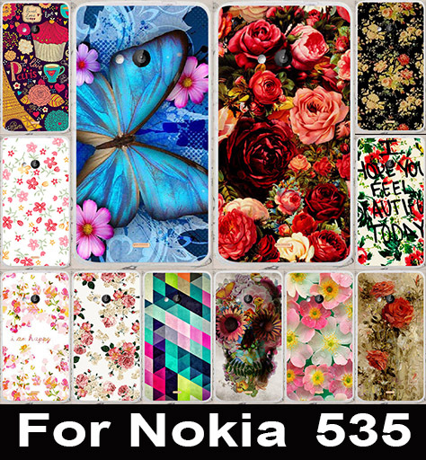 Colorful Brilliant Rose Peony Flowers Painted Phone Cases Hard Back Cover Case For Microsoft Nokia Lumia 535 Phone Bags Skin(China (Mainland))