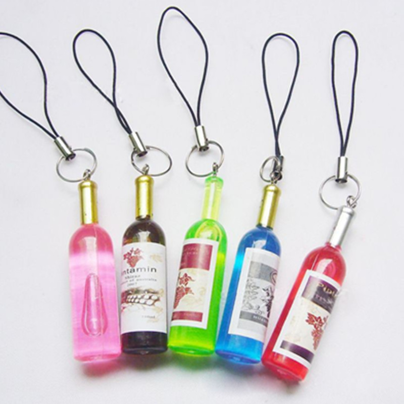 10Pcs/Lot Fashion Cute Multicolor Mini Keychain Wine Bottle Shape Mobile Phone Strap Key Chain(China (Mainland))