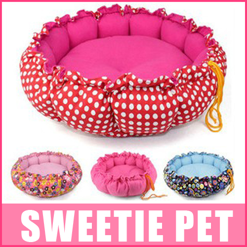 Free Shipping 3 colors Soft pet cat nest dog kennel pumpkin pad dual circle bed,S,L(China (Mainland))