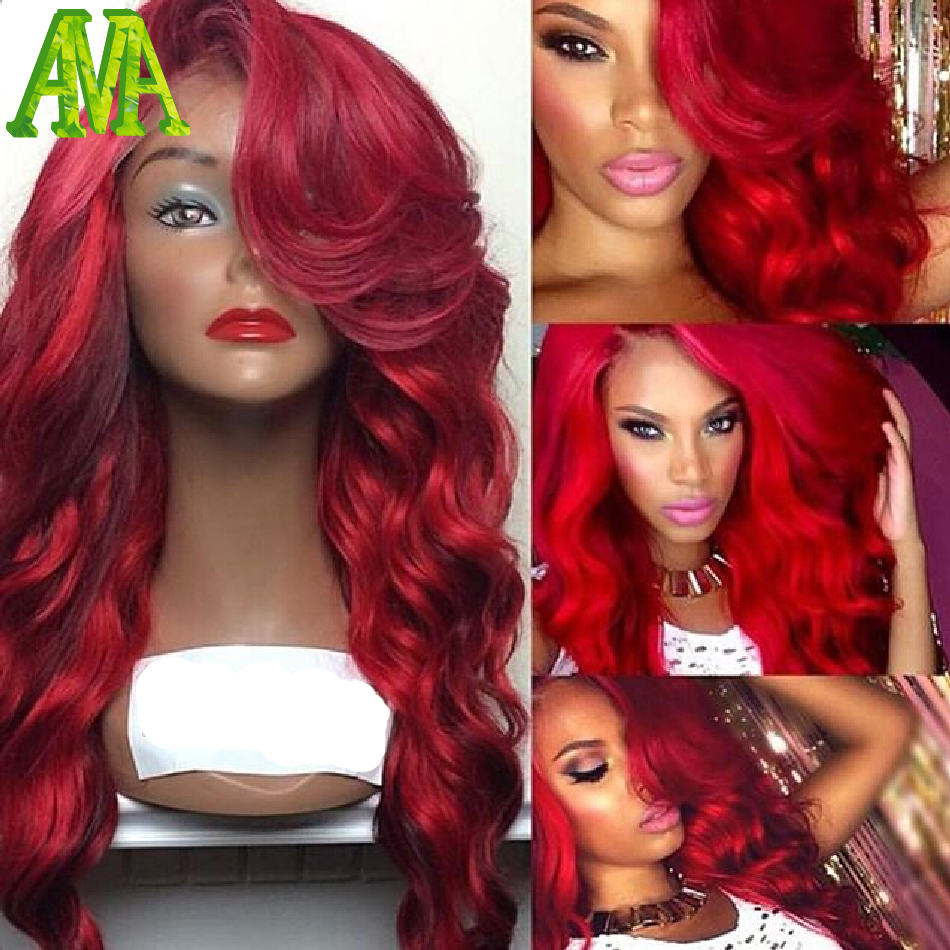 7A Grade Red Human Hair Wigs Glueless Full Lace Wigs Brazilian Virgin Hair Lace Front Wigs 130 Density Body Wave Human Hair Wigs(China (Mainland))