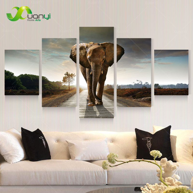 5 panel large modern printed elephant oil painting picture cuadros decoracion canvas wall art for living room unframed pr930a