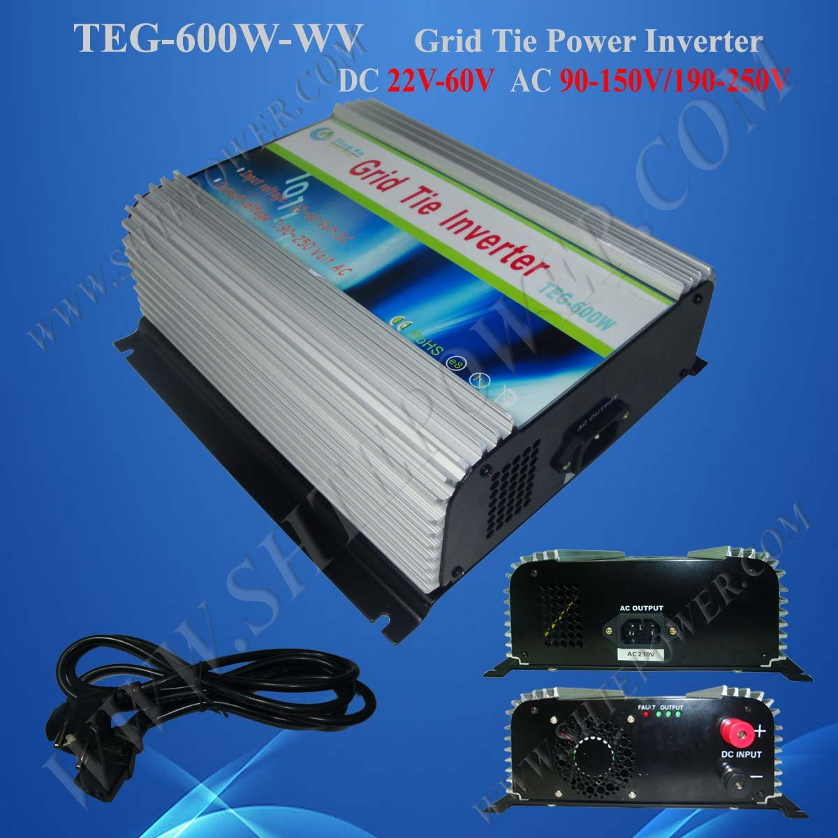 Direct sale, High Tech, 600W PV Grid Tie Inverter with 22VDC to 60VDC input DC voltage ,240VAC output Free shipping(China (Mainland))