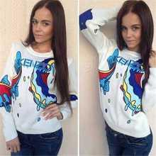 Nuevos pescados de moda mujeres lindas del otoño invierno suéter Outwear suéter de punto de mujer jumper Plus size(China (Mainland))