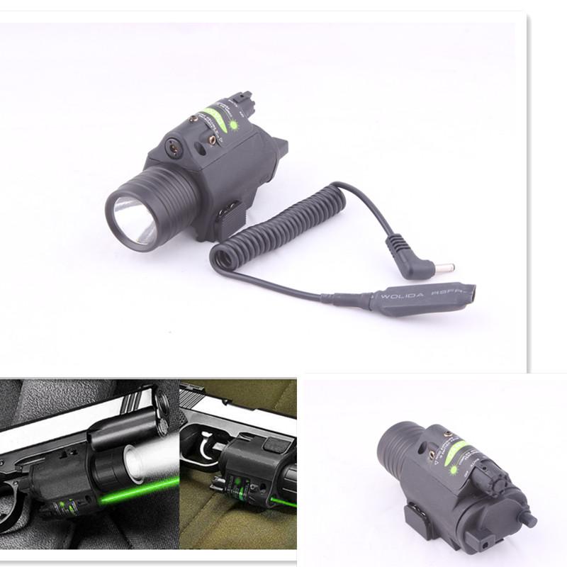 2in1 Combo Tactical CREE Q5 LED Flashlight/LIGHT 200LM +Green Laser Sight For pistol/gun Handgun for Glock 17 19 22 20 23 31 37(China (Mainland))