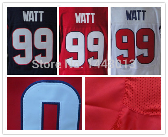 100% Stitched Houston #99 JJ Watt Jersey Elite American Football Jerseys Mens Blue Red white Edition Size S-XXL Accept Mix Order(China (Mainland))