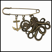 deep ocean sea anchor octopus charm brooch safety pin kilt pin compass BR007